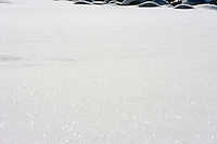 24 February 2008: Fresh snow powder flakes on Kings Beach after a late winter storm in Lake Tahoe, Truckee Nevada California border in the Sierra Mountains.