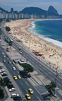 Copacabana Beach and Avenida Atlantica, with Sugar Loaf in background, Rio de Janeiro, Brazil