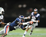 Ole Miss wide receiver Collins Moore (16) makes a catch vs. Tulane's Ryan Travis (10) in the first half at the Mercedes-Benz Superdone in New Orleans, La. on Saturday, September 22, 2012. Ole Miss won 39-0...
