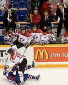 Michael Vandas (Slovakia - 20), Stefan Della-Rovere (Canada - 19) - Team Canada defeated Team Slovakia 8-2 on Tuesday, December 29, 2009, at the Credit Union Centre in Saskatoon, Saskatchewan, during the 2010 World Juniors tournament.