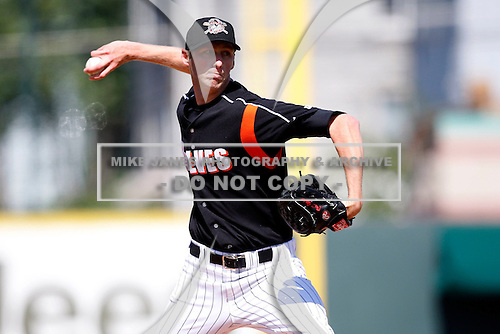 May 31, 2009:  Pitcher Brett Jensen of the Erie Seawolves delivers a pitch during a game at Jerry Uht Park in Erie, NY.  The Seawolves are the Eastern League Double-A affiliate of the Detroit Tigers.  Photo by:  Mike Janes/Four Seam Images