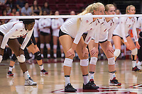STANFORD, CA - August 28, 2016: Kathryn Plummer, Jenna Gray at Maples Pavilion. The Stanford Cardinal defeated the University of Minnesota 3-1.