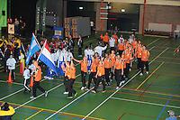 KAATSEN: FRANEKER: Sporthal 'De Trije', 26-08-2012, Openingsceremonie WK Kaatsen, Team Nederland met vlaggendrager Kees van der Schoot, ©foto Martin de Jong