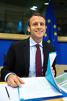 Emmanuel Macron at the European Parliament in Brussels - Belgium
