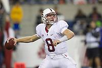 SEATTLE, WA - September 28, 2013: Stanford quarterback Kevin Hogan drops back to pass during play against Washington State at CenturyLink Field. Stanford won 55-17