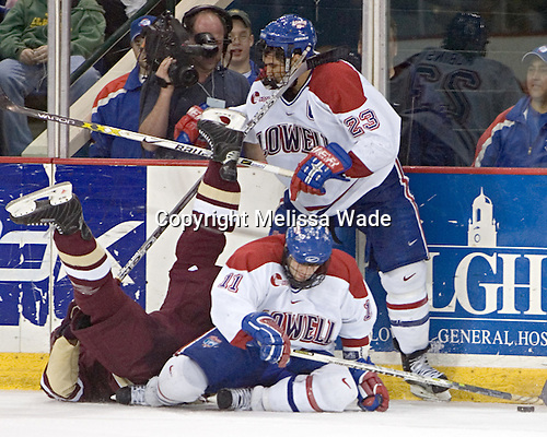 Tim Filangieri, Jeremy Hall, Bobby Robins - The Boston College Eagles defeated the University of Massachusetts-Lowell River Hawks 4-3 in overtime on Saturday, January 28, 2006, at the Paul E. Tsongas Arena in Lowell, Massachusetts.