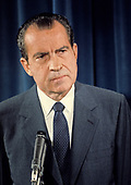 United States President Richard M. Nixon holds a press conference in the East Room of the White House in Washington, DC circa June 1970.<br /> Credit: Arnie Sachs / CNP