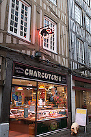 Butchers Shop in Thouret Street in Rouen, Normandy, France