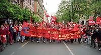 Roma Maggio 2004.Manifestazione degli operai della Fiat di Melfi..Demonstration of workers at Fiat Melfi .The banners salary, rights, democracy,