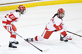 Jill Cardella (BU - 22), Britt Hergesheimer (BU - 2) - The Northeastern University Huskies tied Boston University Terriers 3-3 in the 2011 Beanpot consolation game on Tuesday, February 15, 2011, at Conte Forum in Chestnut Hill, Massachusetts.