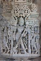Detail of stone carvings at The Ranakpur Jain Temple at Desuri Tehsil in Pali District of Rajasthan, Western India