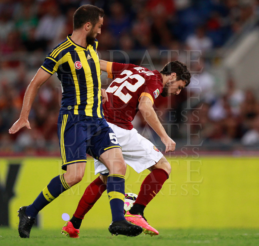 Calcio, amichevole Roma vs Fenerbahce. Roma, stadio Olimpico, 19 agosto 2014.<br /> Roma forward Mattia Destro, right, is challenged by Fenerbache defender Serdar Kesimal, during the friendly match between AS Roma and Fenerbahce at Rome's Olympic stadium, 19 August 2014.<br /> UPDATE IMAGES PRESS/Isabella Bonotto