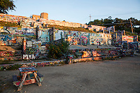The HOPE Outdoor Gallery is a huge community paint and graffiti park located at 11th & Baylor St. in downtown Austin - Stock image.