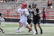 College Park, MD - May 14, 2017: Maryland Terrapins Matt Rambo (1) attempts a shot during the NCAA first round game between Bryant and Maryland at  Capital One Field at Maryland Stadium in College Park, MD.  (Photo by Elliott Brown/Media Images International)