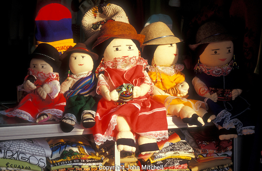 Dolls for sale in the Otavalo handicrafts market, Ecuador