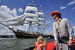 Nederland,Netherlands,Amsterdam,19-08-2010 Talll ship City of Amsterdam arrives in Amsterdam Ij harbour during the Sail Inn the official start of  Sail 2010. FOTO: Gerard Til