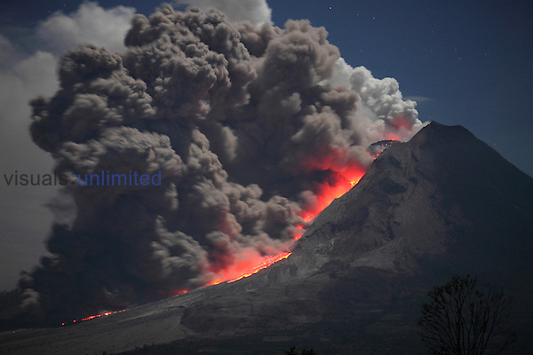 Nighttime pyroclastic flow following partial collapse of andesite lava dome, Sinabung Volcano, Sumatra, Indonesia