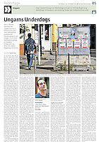 die tageszeitung taz (German daily) on the Hungarian refugee quota referendum, 09.2016. <br /> Photos: Martin Fejer