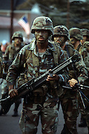 Fort Bragg, NC, USA, June 1980. Soldiers from 82nd Division march in their mimetic uniforms during the traditional Turkey Parade on Thanksgiving Day.