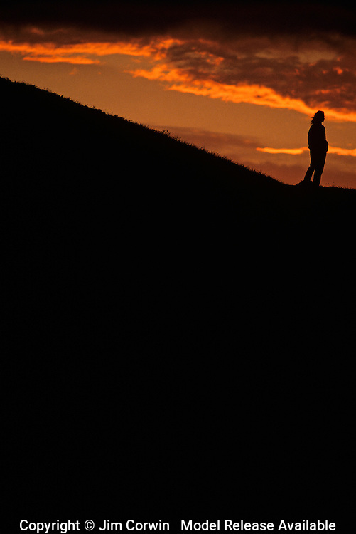 Silhouetted woman at sunset standing on bluff looking out over Puget sound Seattle Washington State USA   MR