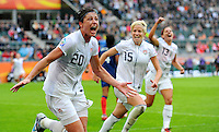 Abby Wambach (l) of team USA celebrates with Megan Rapinoe (C) and Alex Morgan (r) during the FIFA Women's World Cup at the FIFA Stadium in Moenchengladbach, Germany on July 13th, 2011.