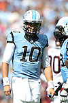04 October 2014: UNC's Mitch Trubisky. The University of North Carolina Tar Heels hosted the Virginia Tech Hokies at Kenan Memorial Stadium in Chapel Hill, North Carolina in a 2014 NCAA Division I College Football game. Virginia Tech won the game 34-17.