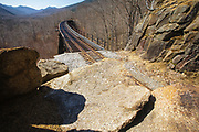 Crawford Notch State Park - Frankenstein Trestle  along the Maine Central Railroad in the White Mountains, New Hampshire USA. Since 1995 the Conway Scenic Railroad, which provides passenger excursion trains has been using the track.