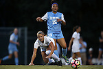 19 August 2016: Central Florida's Carrie Lawrence (below) and North Carolina's Zoe Redei (15). The University of North Carolina Tar Heels hosted the University of Central Florida Knights in a 2016 NCAA Division I Women's Soccer match. UNC won the game 2-0