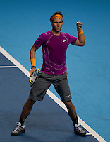Rafael Nadal (ESP) (1) against Andy Roddick (USA) (8)  in a Group A match. Rafael Nadal beat Andy Roddick 3-6 7-6 6-4..International Tennis - Barclays ATP World Tour Finals - O2 Arena - London - Day 2 - Mon 22 Nov 2010..© Frey - AMN Images, Level 1, Barry House, 20-22 Worple Road, London, SW19 4DH.Tel - +44 208 947 0100.Email - Mfrey@advantagemedianet.com.Web - www.amnimages.photshelter.com