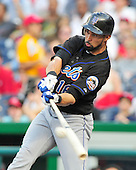 New York Mets centerfielder Angel Pagan (16) hits an RBI single scoring Justin Turner in the first inning against the Washington Nationals at Nationals Park in Washington, D.C. on Friday, July 29, 2011..Credit: Ron Sachs / CNP.(RESTRICTION: NO New York or New Jersey Newspapers or newspapers within a 75 mile radius of New York City)