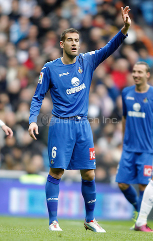 Getafe's Alberto Lopo reacts during La Liga match. January 27, 2013. (ALTERPHOTOS/Alvaro Hernandez) NortePhoto /MediaPunch Inc. ***FOR USA ONLY***