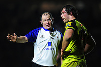 Referee Dean Richards speaks to Dom Barrow of Leicester Tigers. Aviva Premiership match, between Harlequins and Leicester Tigers on February 24, 2017 at the Twickenham Stoop in London, England. Photo by: Patrick Khachfe / JMP