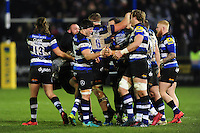 Bath Rugby players mob Rhys Priestland after his match-winning penalty kick. Aviva Premiership match, between Bath Rugby and Northampton Saints on February 10, 2017 at the Recreation Ground in Bath, England. Photo by: Patrick Khachfe / Onside Images