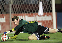 COLLEGE PARK, MD. - AUGUST 20, 2012:  Andrew Wolverton (1) of Penn State makes a save during an NCAA match against the University of Maryland at Ludwig Field, in College Park, Maryland on August 20. The game ended in a 2-2 tie.