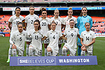 WASHINGTON, DC - MARCH 07: Germany's starters pose for a photo before the game. Front row (from left): Babett Peter (GER), Sara Dabritz (GER), Leonie Maier (GER), Alexandra Popp (GER), Anna Blasse (GER). Back row (from left): Dzsenifer Marozsan (GER), Josephine Henning (GER), Lina Magull (GER), Isabel Kerschowski (GER), Anja Mittag (GER), Laura Benkarth (GER). The England Women's National Team played the Germany Women's National Team as part of the SheBelieves Cup on March 7, 2017, at RFK Stadium in Washington, DC. Germany won the game 1-0.
