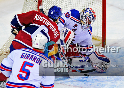 4 December 2008: New York Rangers' goaltender Henrik Lundqvist from Sweden in action against the Montreal Canadiens at the Bell Centre in Montreal, Quebec, Canada. The Canadiens, celebrating their 100th season, played in the circa 1915-1916 uniforms for the evenings' Original Six matchup. *****Editorial Use Only*****..Mandatory Photo Credit: Ed Wolfstein Photo