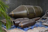 Ho Chi Minh city<br /> , Vietnam - 2007 File Photo -<br /> Captured US Army<br /> bombs on display at war museum.  <br /> <br /> <br /> <br /> <br /> photo : James Wong-  Images Distribution
