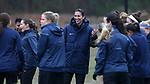 RALEIGH, NC - MARCH 13: Team captain Abby Erceg (NZL) (center) with her teammates before practice. The North Carolina Courage held their first ever training session on March 13, 2017, at WRAL Soccer Center in Raleigh, NC to start their preseason before the 2017 NWSL Season. Prior to its offseason relocation the team was known as the Western New York Flash.
