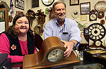 TORRINGTON CT. 19 April 2017-041917SV04-Al and Bev Michalowski of Country Clocks work in their store in Torrington Wednesday.<br /> Steven Valenti Republican-American