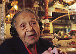 Miss Margaret lovingly recalls how she met Rev. Dennis and how he built their home for her out of love.The 91 year old Miss Margaret credits her age and life to God and her and Dennis spread the Lords words.(Photo/Suzi Alltman) MISS MARGARETS GROCERY VICKSBURG MISSISSIPPI Pictures is Miss margaret's Grocery, also known as Rev.Dennis's Castle, in Vicksburg Mississippi. Located on the Blues Highway, HWY 61 North, this folk art Palace is in recent times in need of repair. A non profit is being set up to help preserve the property since Miss Margaret's death in 2008. rev. Dennis is now in nursing home and 94 yrs. old. His works of art and bus he lovingly turned into a church with Margaret's help need to be protected for future generations to enojy. Photo©SuziAltman Margaret's Grocery Store is now a shrine to Rev. Dennis and Miss Margaret. For over 20 years they welcomed travelers from all over the world to share their beliefs and artistic vision. The Mississippi Folk Art Foundation has been established to help preserve this important folk art creation.To help contact suzisnaps@aol.com