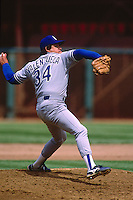 SAN FRANCISCO, CA - Fernando Valenzuela of the Los Angeles Dodgers in action during a game against the San Francisco Giants at Candlestick Park in San Francisco, California in 1987. Photo by Brad Mangin
