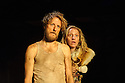 London, UK. 05.01.2016. Two Shed Theatre's AFRICAN GOTHIC, by Reza de Wet, directed by Roger Mortimer and Deborah Edgington, opens at Park Theatre. Picture shows: Oliver Gomm (Frikkie), Janna Fox (Sussie). Photograph © Jane Hobson.