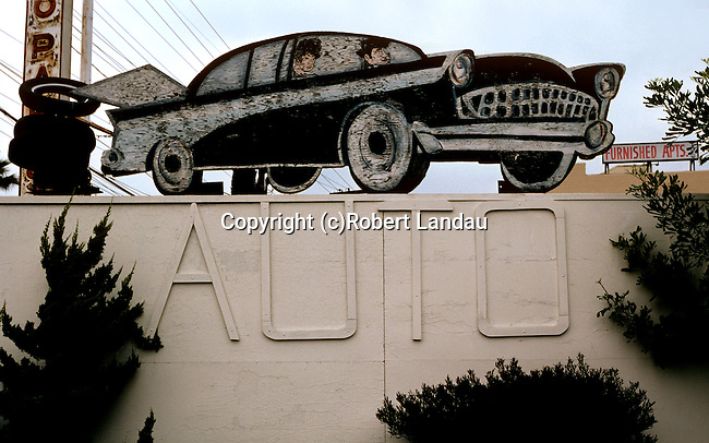 Hand made sign at auto repair shop near downtown Los Angeles, CA April, 1981