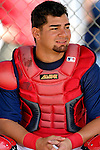 25 February 2007:Washington Nationals catcher Jesus Flores gets ready to take the field prior to batting practice at their spring training facility in Viera, Florida.<br /> <br /> Mandatory Photo Credit: Ed Wolfstein Photo
