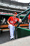25 September 2011: Washington Nationals outfielder Brian Bixler stands on the dugout steps prior to a game against the Atlanta Braves at Nationals Park in Washington, DC. The Nationals shut out the Braves 3-0 to take the rubber match third game of their 3-game series - the Nationals' final home game for the 2011 season. Mandatory Credit: Ed Wolfstein Photo