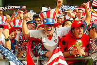 USA fans celebrate. The USA defeated Mexico 2-0 in the Round of 16 of the FIFA World Cup 2002 in South Korea on June 17, 2002.