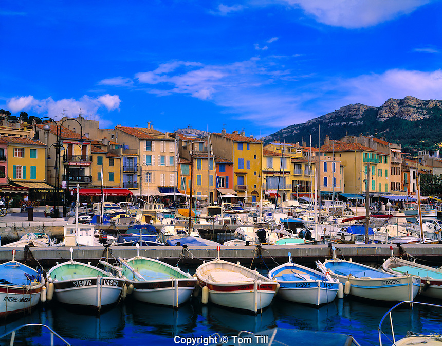 Boats and shops in Cassis  Province France Mediterranean Sea 7th Century town near Calanques