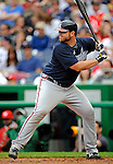 12 April 2008: Atlanta Braves' catcher Brian McCann in action against the Washington Nationals at Nationals Park, in Washington, DC. The Braves defeated the Nationals 10-2...Mandatory Photo Credit: Ed Wolfstein Photo