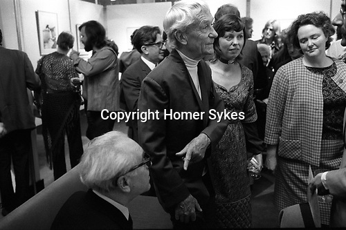 The Photographers Gallery Great Newport Street, London 1971 Jacques Henri Lartigue with Sue Davies. Julia Trevelyan Oman,( Mrs Roy Strong)  theatre designer, Roy Strong on extreme right. Pv Lartigue show May 1971