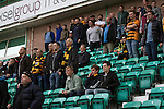Hibernian 3 Alloa Athletic 0, 12/09/2015. Easter Road stadium, Scottish Championship. Some of the 79 visiting fans watching the first-half action at Easter Road stadium during the Scottish Championship match between Hibernian and visitors Alloa Athletic. The home team won the game by 3-0, watched by a crowd of 7,774. It was the Edinburgh club's second season in the second tier of Scottish football following their relegation from the Premiership in 2013-14. Photo by Colin McPherson.